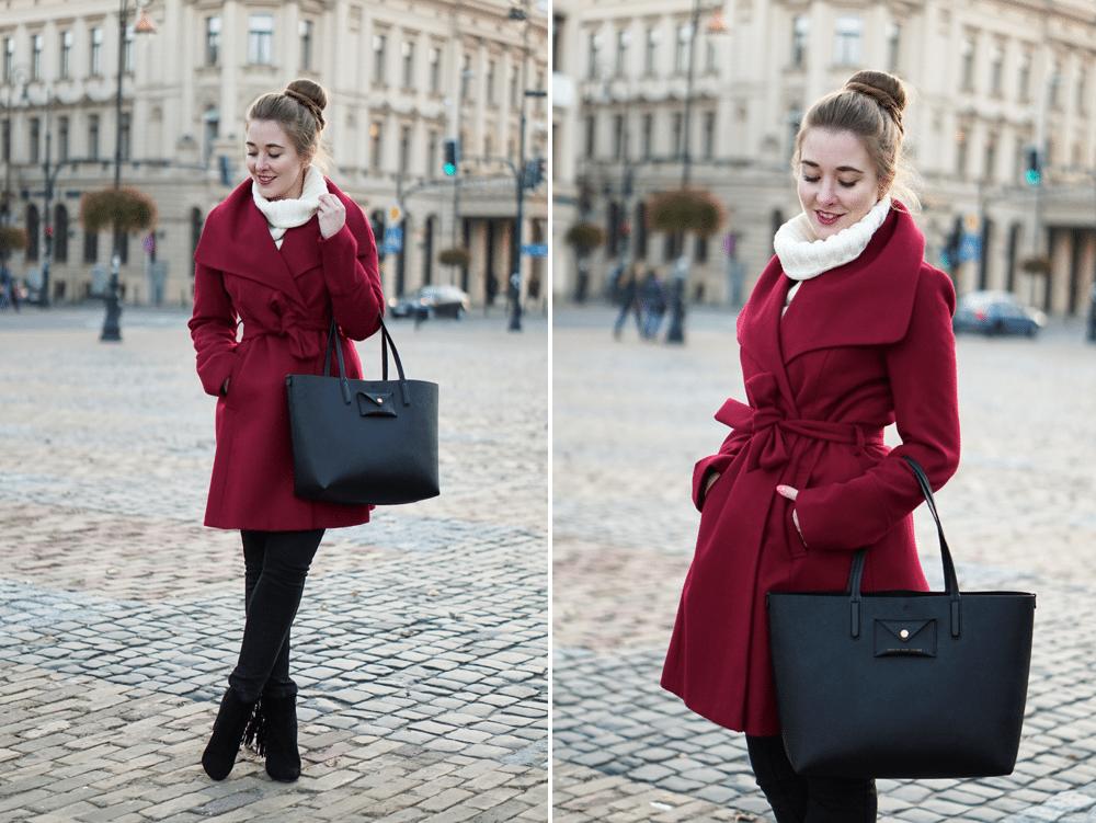 zestaw na jesień burgundowy płaszcz F&F