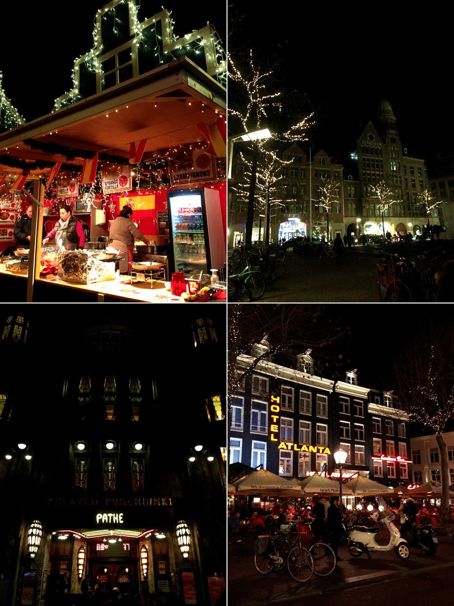 amsterdam nocą świąteczny klimat