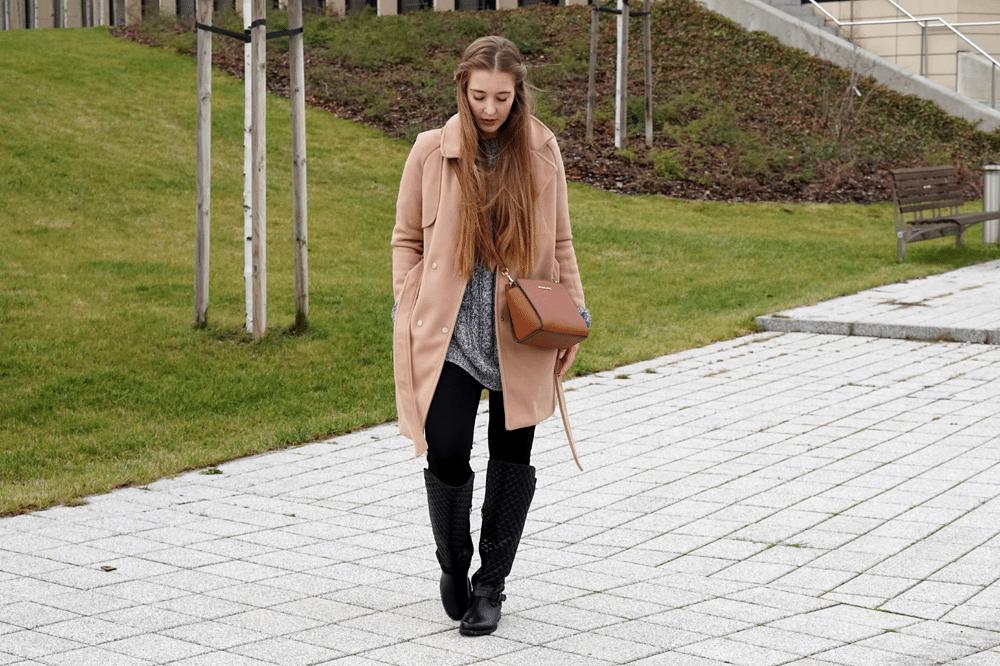 grudniowa stylizacja zima 2015 camelowy płaszcz sheinside