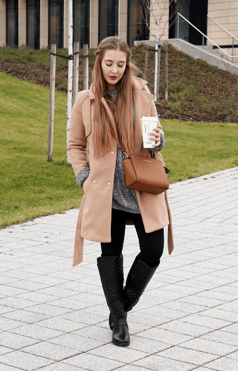 ootd zimowy płaszcz camel coat sheinside