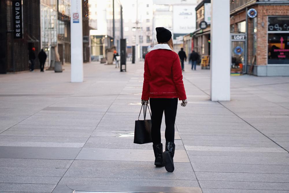 tył czerwony kożuch ootd shein sheinside