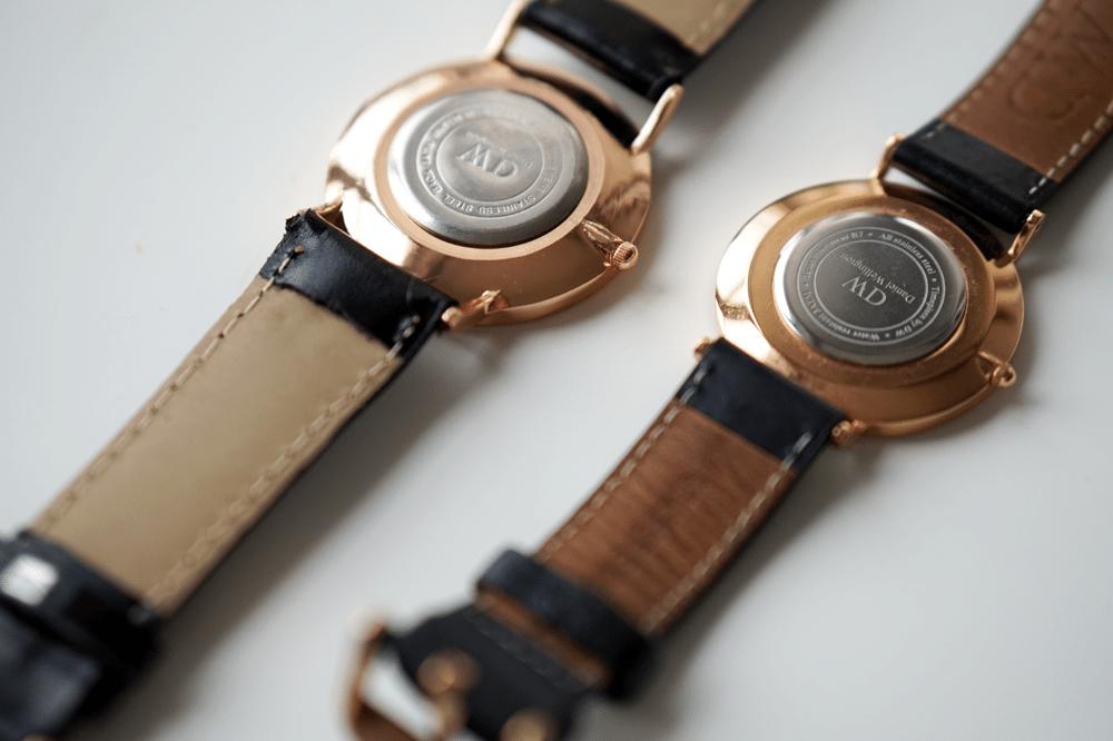 koperta zegarka daniel wellington tył podróbka oryginał