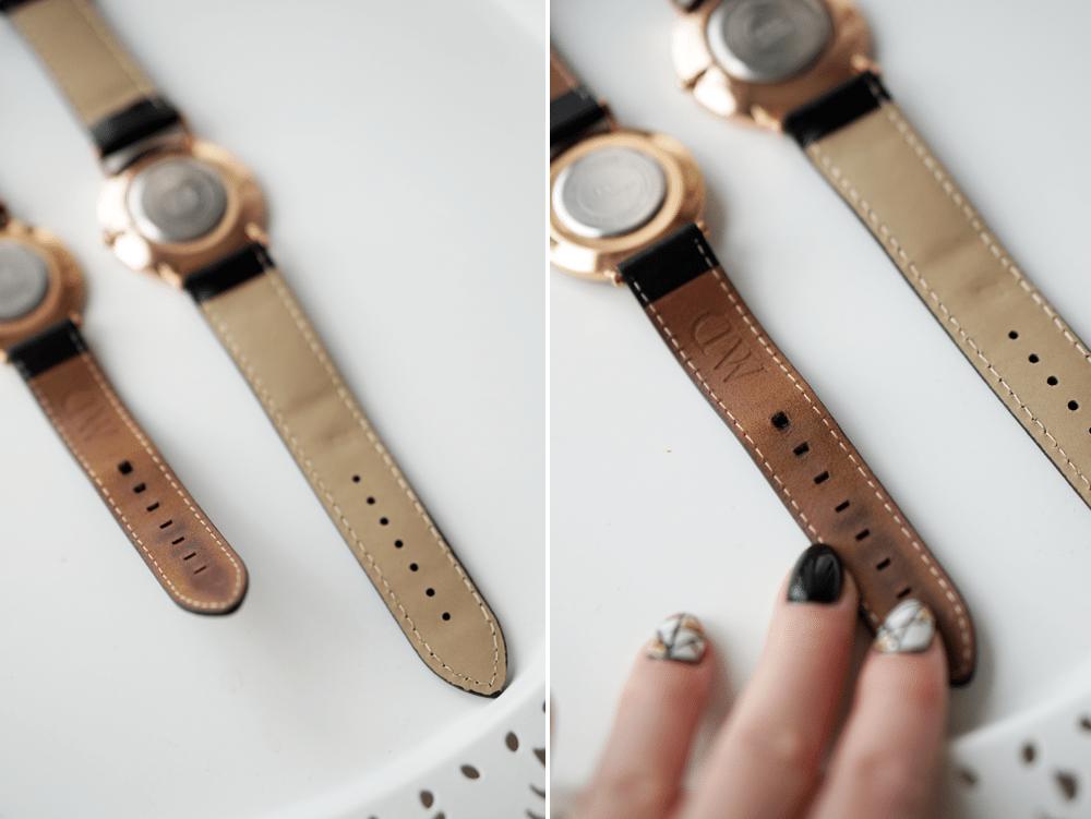 tył paska zegarek DW dziurki