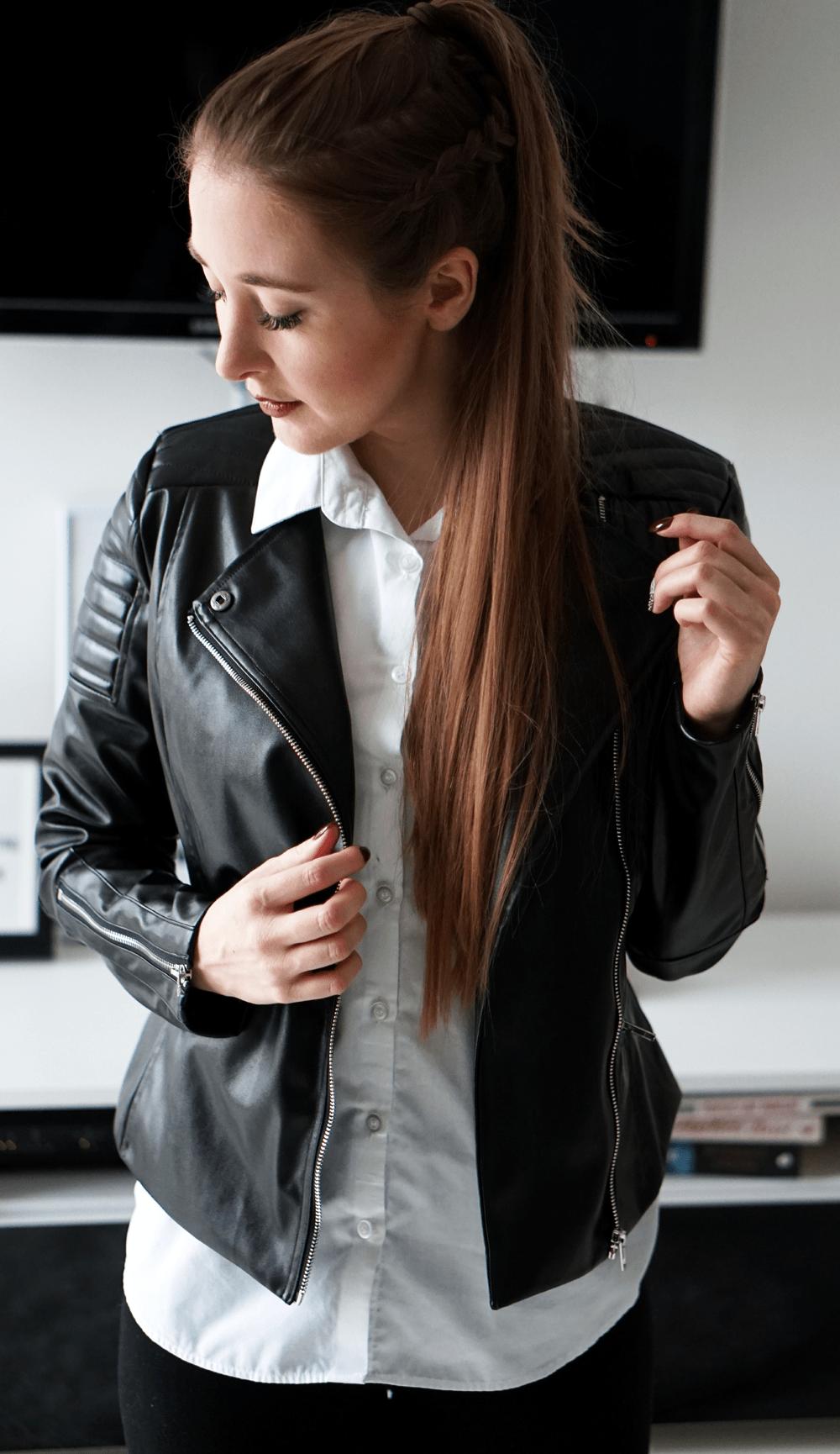 czarna kurtka shein boxer braid warkocz blond