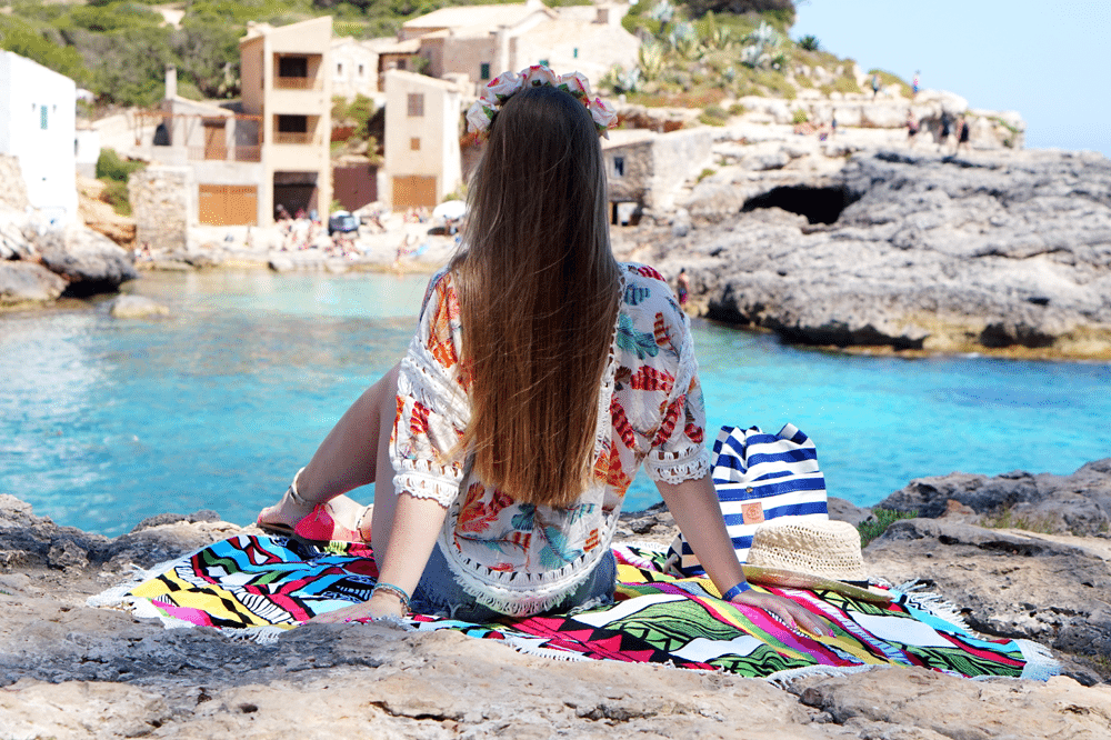 tyłem boho długie włosy wakacje plaża