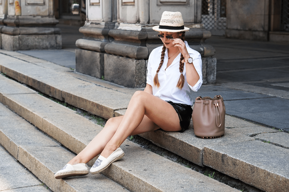 kenzo biała koszula outfit