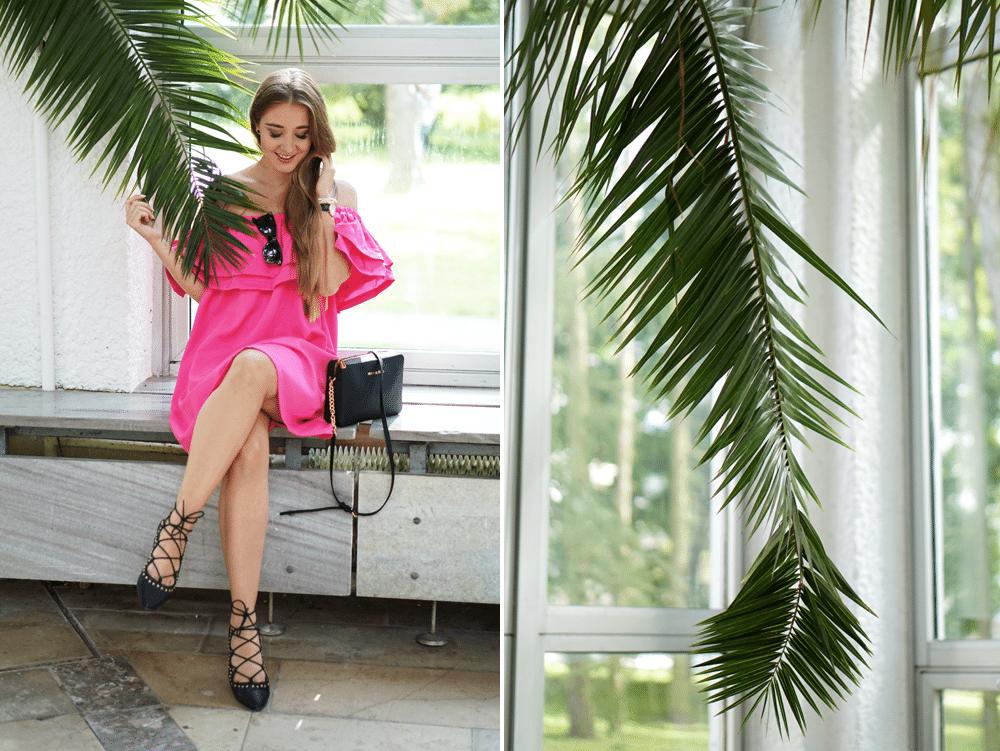 outfit hiszpańska sukienka różowa sheinside