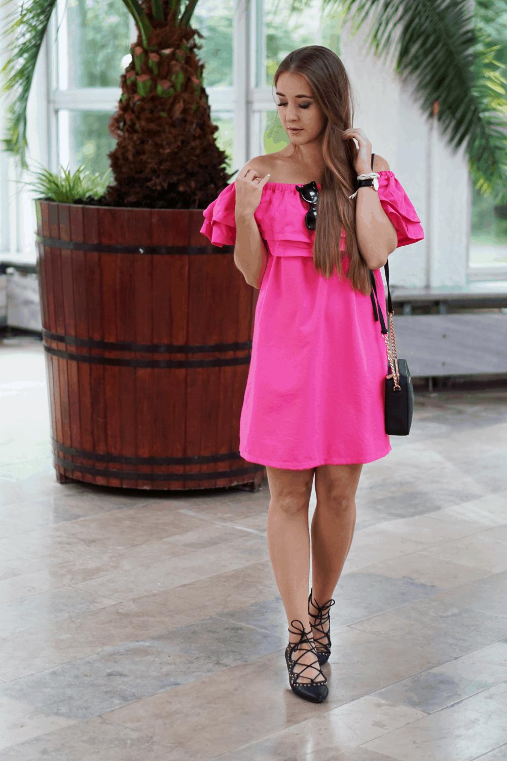 różowa sukienka sheinside hiszpanka offshoulder