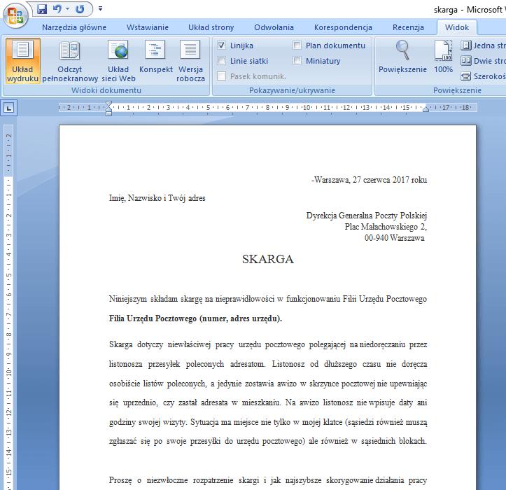 Listonosz nie doręcza poleconych – gotowy wzór skarga na listonosza + darmowy pdf do druku