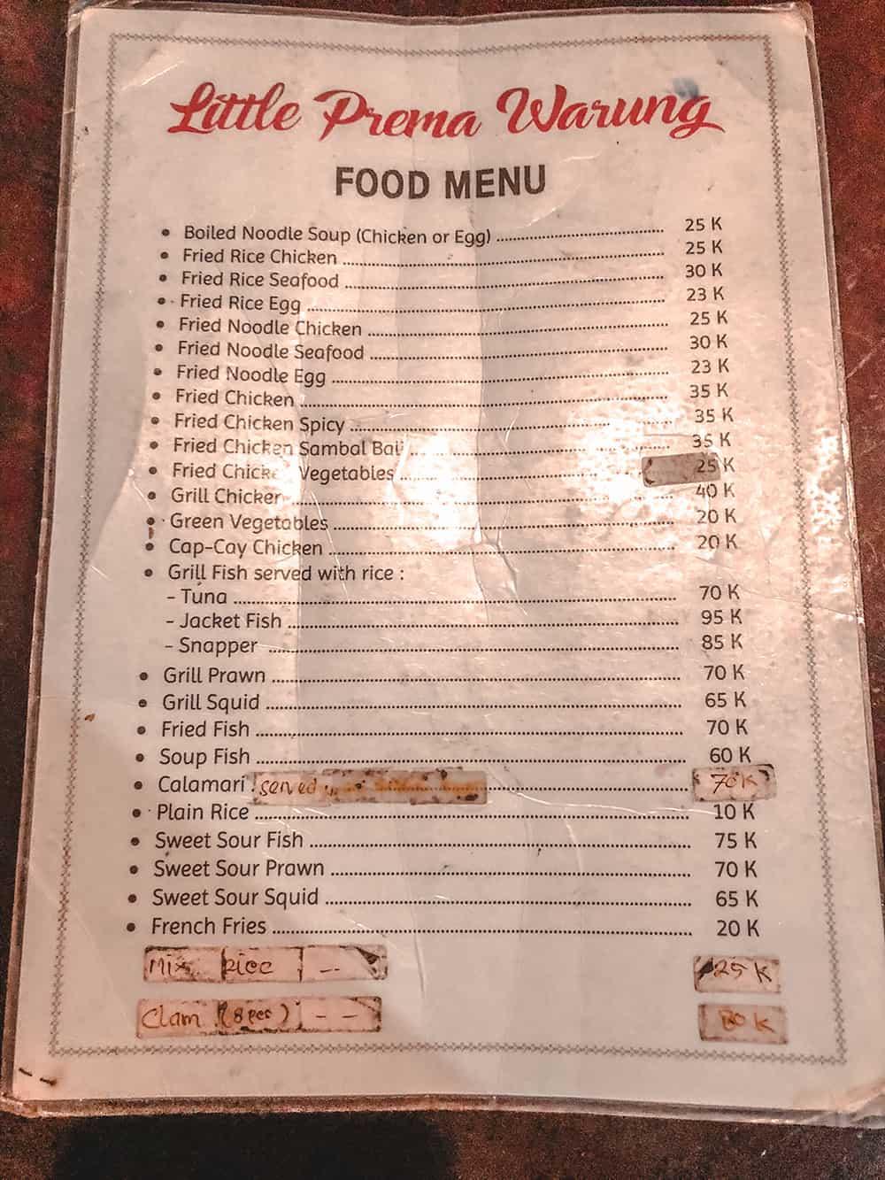 menu bali ceny 2019